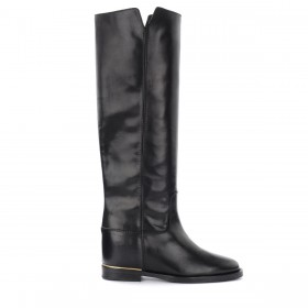 Via Roma 15 boot in black leather with gold thread