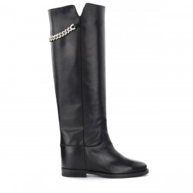 Via Roma 15 boot in black leather with silver chain