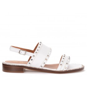 Via Roma 15 flat sandals in white leather with double band