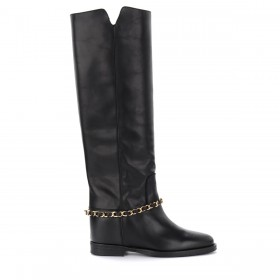 Via Roma 15 boot in black leather with removable chain