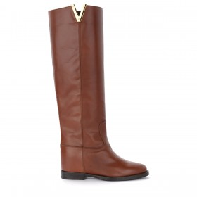 Via Roma 15 boot in brown leather with side V