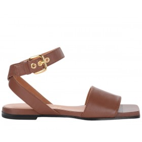 Via Roma 15 sandals in super soft brown leather