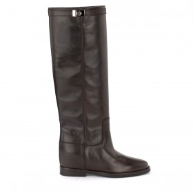 Via Roma 15 dark brown boot in smooth leather Strap with silver-colored twist lock.