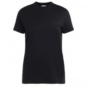 Y3 black t-shirt made of cotton with front logo