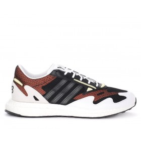 Y-3 Rhisu Run sneaker in black mesh with white and red details