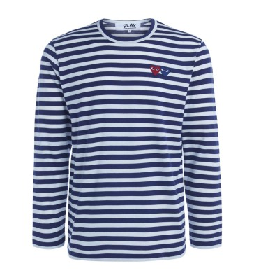 Comme Des Garçons PLAY double heart striped sweater
