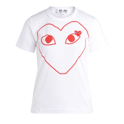 T-Shirt Comme Des Garçons PLAY bianca con cuore rosso