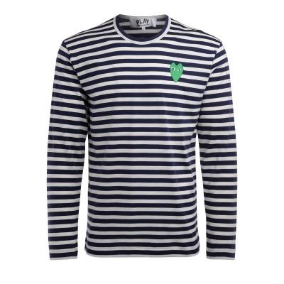 T-Shirt Comme Des Garçons PLAY manica lunga a righe bianche e blu con cuore verde