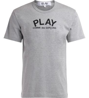 T-Shirt Comme Des Garçons Play in cotone grigio con logo