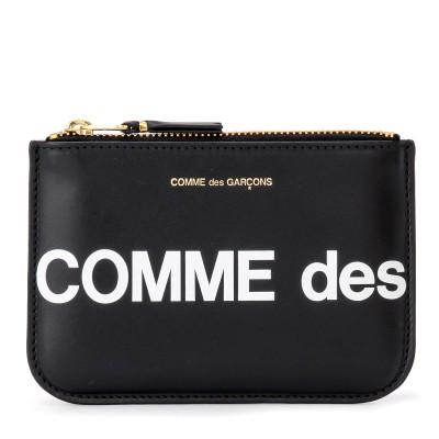 Bustina Comme Des Garçons Wallet Huge Logo in pelle rossa