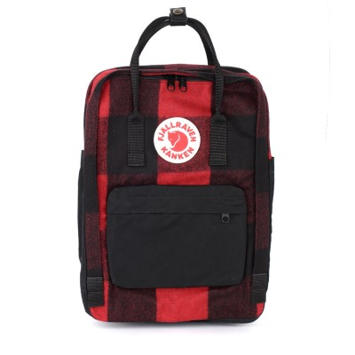 Zaino Kånken by Fjällräven 15'' Re-Wool rosso e nero