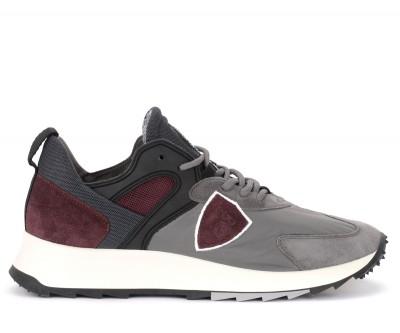 Sneaker Philippe Model Royale in tessuto grigio e camoscio bordeaux