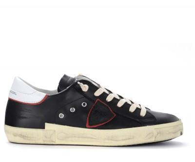 Sneaker Philippe Model Paris X in pelle nera con spoiler bianco