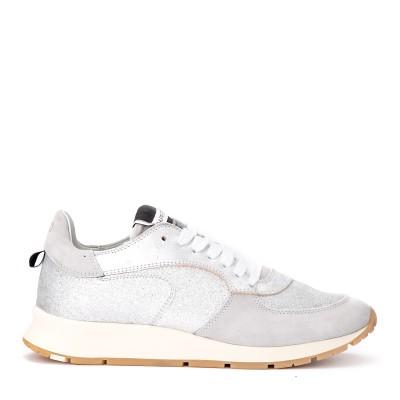 Sneaker Philippe Model Montecarlo in pelle e glitter argento