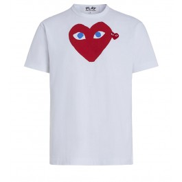 T-Shirt Play by Comme de Garcon in Weiss mit rotem Herz