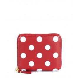 Comme Des Garçons Geldbörse Leder Rot mit weißen Punkten
