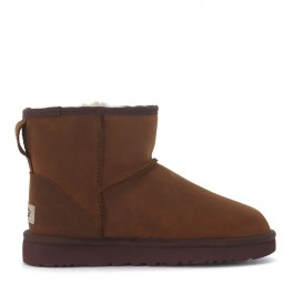 Tronchetto Ugg Classic II Mini in pelle marrone scuro
