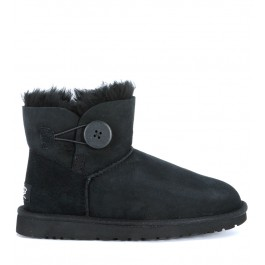 Ugg Stiefelette Mini Button aus Wildleder in Schwarz