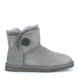 Ugg Stiefelette Mini Button aus Wildleder in Grau