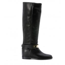 Stivale Via Roma 15 in pelle nera con placca oro sulla caviglia