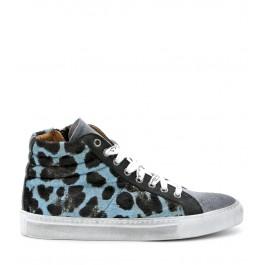 Sneaker Via Roma 15 in cavallino maculato azzurro
