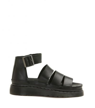 Sandalo Dr. Martens in pelle nera con tre fasce frontali
