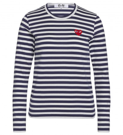 Blaues T-Shirt Play by Comme de Garcon mit weissen Streifen