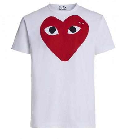 T-Shirt Play by Comme de Garcon in Weiss mit rotem Herz und schwarzen Augen