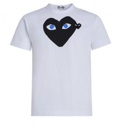 T-Shirt Play by Comme de Garcon in Weiss mit schwarzem Herz