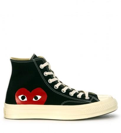 Comme des Garçons hohe Sneakers Play x Converse in Canvas Schwarz