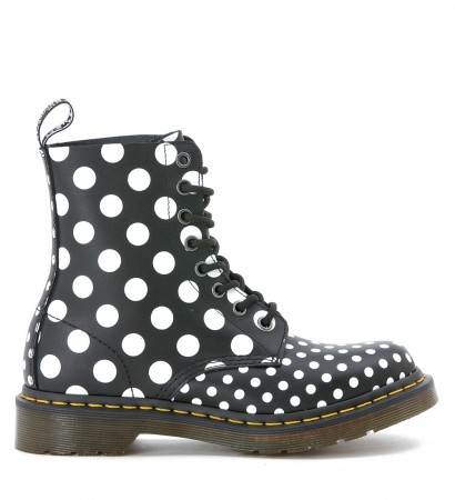 Anfibio 8 fori Dr.Martens in pelle nera a pois bianchi fronte