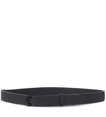 Cintura Orciani in pelle nera martellata