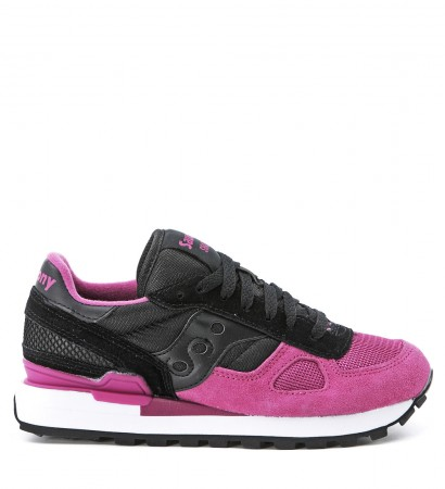 Sneaker Saucony Shadow in camoscio e tessuto nero e fuxia