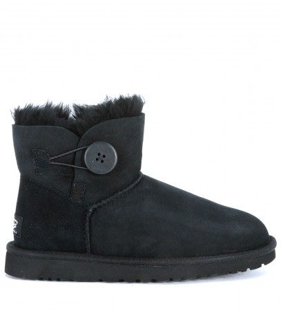 Tronchetto Ugg Mini Button in camoscio nero