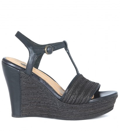 Sandalo zeppa UGG Fitchie in pelle e raffia nera