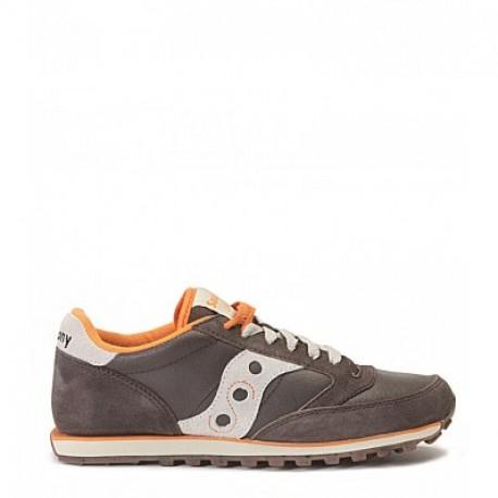 Sneaker Saucony mod. Jazz in pelle scamosciata marrone con dettagli beige e arancione