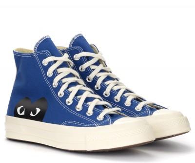 Laterale Sneaker alta Comme des Garçons Play x Converse blu con cuore nero
