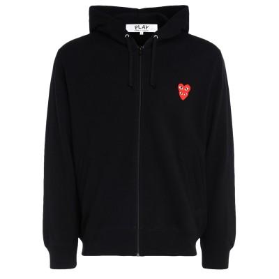 Laterale Comme Des Garçons Herren Sweater PLAY Schwarz mit Kapuze und übereinanderliegenden Herzen