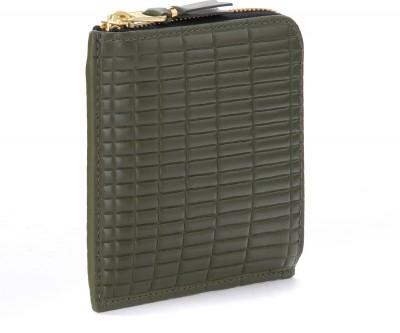 Laterale Portemonnaie Comme Des Garçons Wallet Brick Line in Leder Farbe Khaki