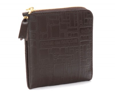 Laterale Bustina Wallet Comme Des Garçons in pelle stampata marrone