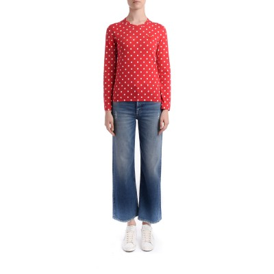 Laterale Comme Des Garçons T-Shirt Play in Rot mit Weißen Pois