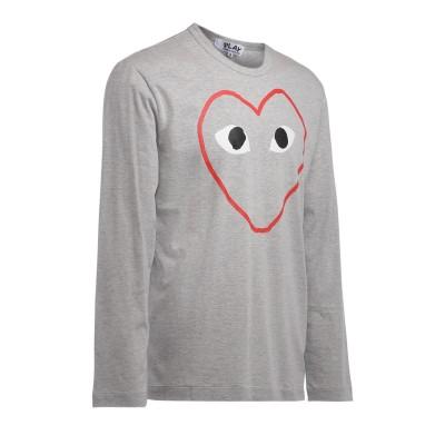 Laterale T-Shirt Comme Des Garçons PLAY manica lunga grigia con stampa cuore vuoto