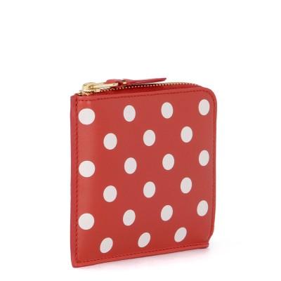 Laterale Comme Des Garçons Portemonnaie Wallet rotes Leder mit Punkten