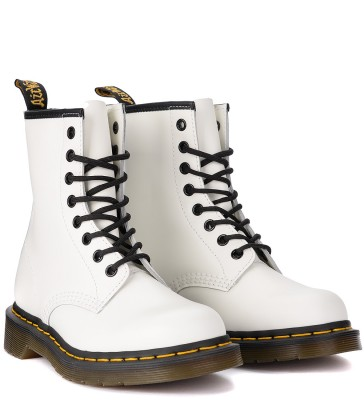 Laterale Dr. Martens Amphibienstiefel 1460 Smooth in Leder Weiss