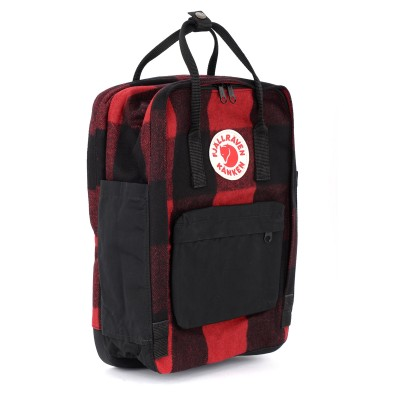 Laterale Zaino Kånken by Fjällräven 15'' Re-Wool rosso e nero