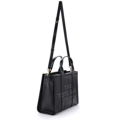 Laterale Borsa The Marc Jacobs The Leather Small Traveler Tote Bag nera