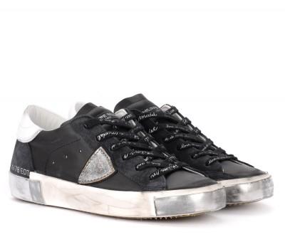 Laterale Sneaker Philippe Model Paris X in Leder und Veloursleder Schwarz und Silber
