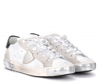 Laterale Sneaker Philippe Model Paris X in Leder und Wildleder Weiss