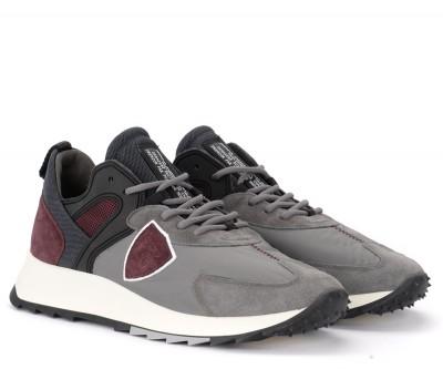 Laterale Sneaker Philippe Model Royale in tessuto grigio e camoscio bordeaux