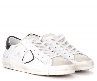 Laterale Sneaker Philippe Model Paris X in Leder Weiss mit schwarzer Ferse